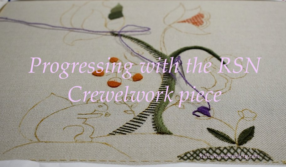 Progressing with the RSN Crewelwork piece