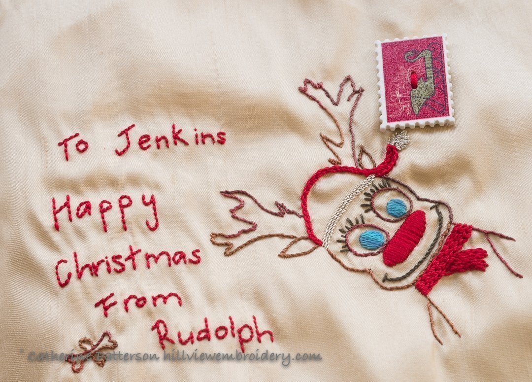 hand embroidered Christmas decoration in the form of a postcard by Catherine of Hillview Embrodiery
