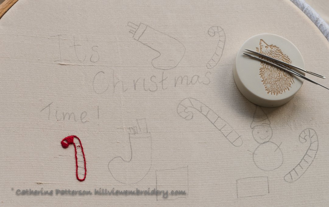 hand embroidered Christmas decoration in the form of a postcard by Catherine of Hillview Embroidery